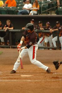 Riley Palmer hitting with the IronBirds. (photo courtesy of Riley Palmer and the IronBirds)