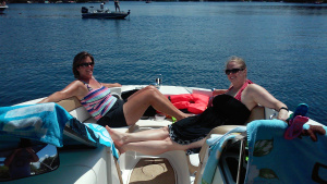 Mrs. captain and my wife enjoying some sunshine and conversation