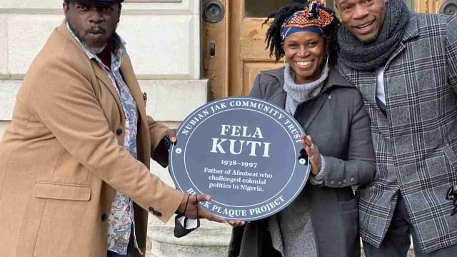 Fela Kuti Black Plaque - L-R: Dele Sosimi, Juliet Jackman, Dr Jak Beula (credit Trinity Laban)