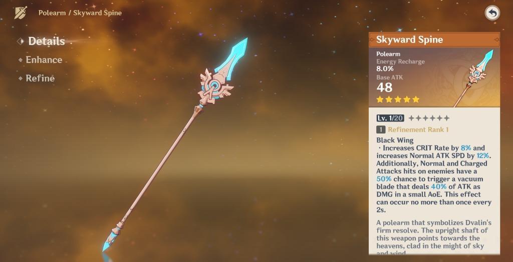 Danh sách Vũ khí cán dài trong Genshin Impact
