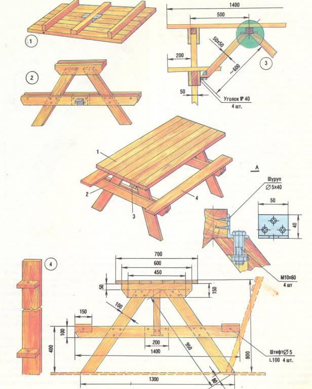Чертеж стола для дачи со скамейками