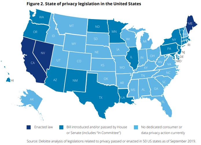 which US states have adopted or will adopt privacy legislation, shown on map