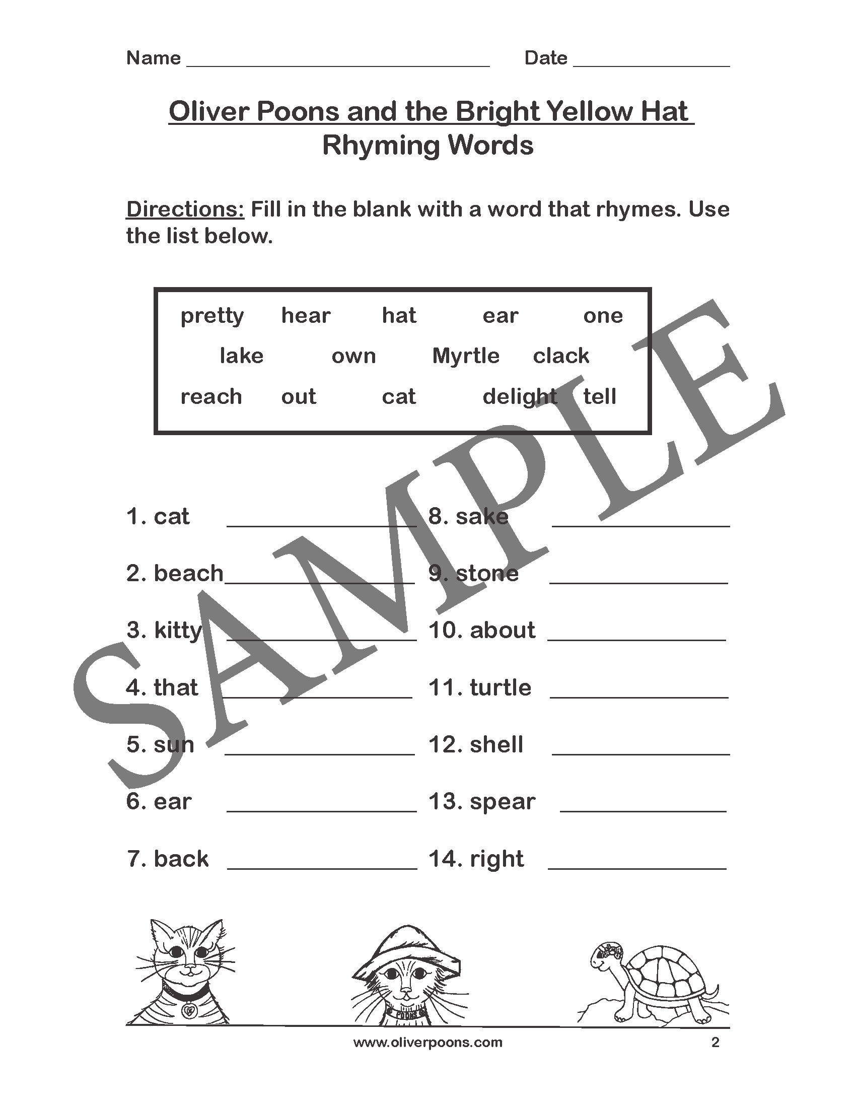 Rhyming Activities And Worksheets Pre K Through Grade 2