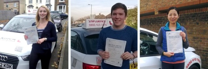Driving lesson pupils who have just passed their driving tests looking happy