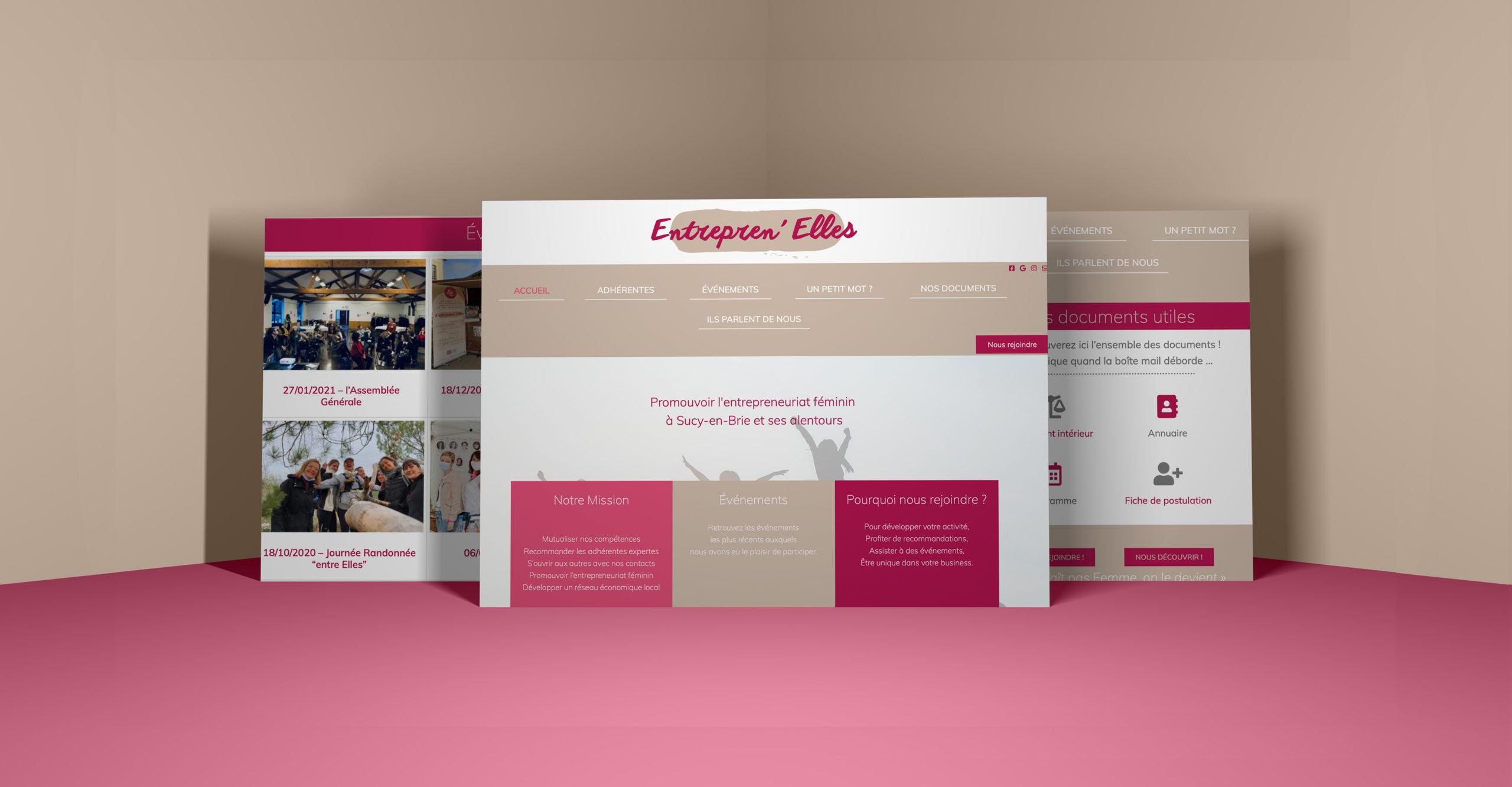 Entrepren'Elles Website - 1 Noiseau à Paris - Graphiste illustratrice Webdesigner Val de Marne