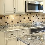 Travertine Tile Dark Brown Glass Backsplash Tile Ideas