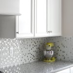 5 White Glass Metal Backsplash Tile Luna Pearl Granite Countertop