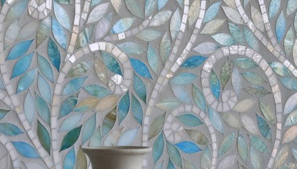 91206 Mosaic Contemporary Blue Stain Glass Backsplash Tile Backsplash Com
