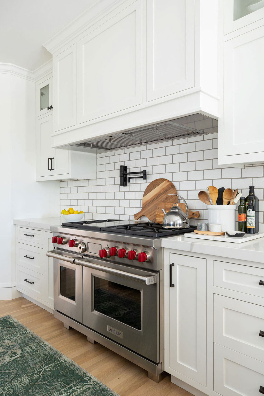 white cabinets with white countertop