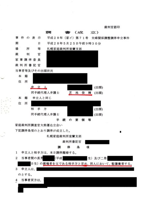 芝池俊輝弁護士の負けを示す裁判記録。この弁護士は自ら審判を申し立てたが(後に付調停に変更)、この弁護士の主張は一切認められず、逆に親権・監護権は相手方父親に定められた