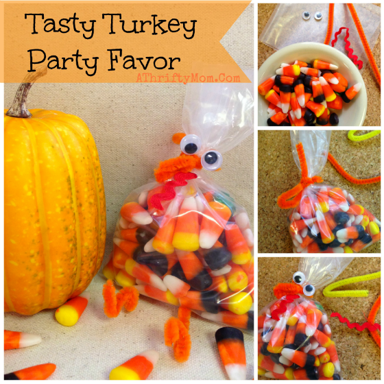 Candy Corn Turkey quick and easy party favor for a Thanksgiving Party, DIY crafts for kids, Fall Craft ideas