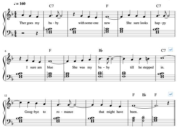 Apprendre à jouer Bye bye love au piano avec 3 accords.