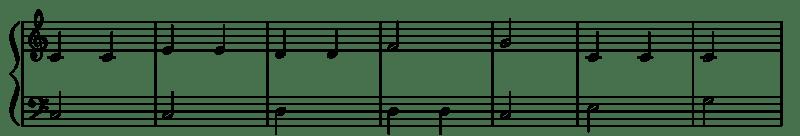 partition de piano avec des barres de mesures traversant la cle de sol et de fa
