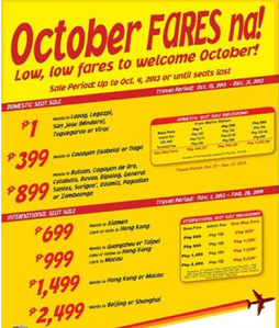 October, November, December 2013 Promo by Cebu Pacific Air