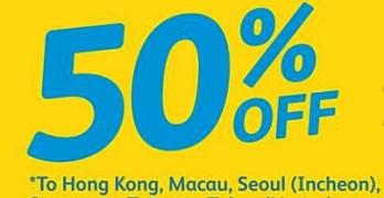 50% Off Cebu Pacific Tickets to Hong Kong, Japan, Singapore, Macau