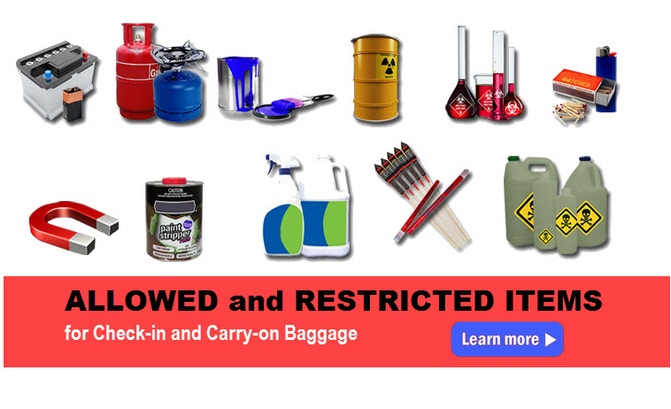 restricted and allowed items in baggage