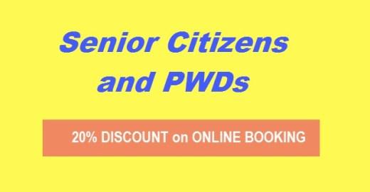 20 off discount online booking senior citizen pwd