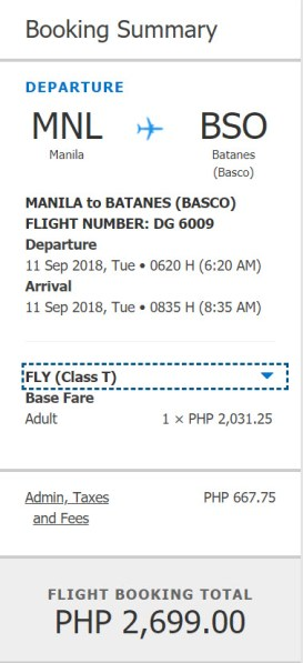 Piso Fare to Batanes