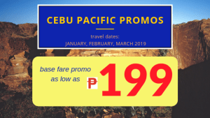 As low as 199 Pesos Base Fare Promo Tickets Available Via Cebu Pacific