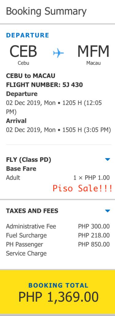 Piso Sale Cebu to Macau