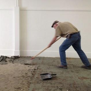 Sweaty labor on old floors