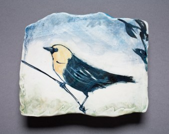 LaurieShaman_wall tile_yellow blk bird