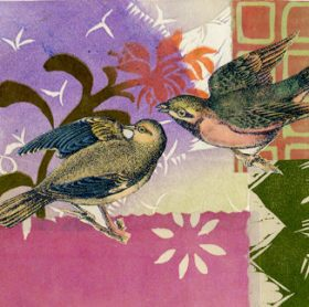 Loving Birds Chine Colle´collage by Ouida Touchon