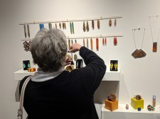 Paul Guillemette's jewelry is made of wood, resin and found objects
