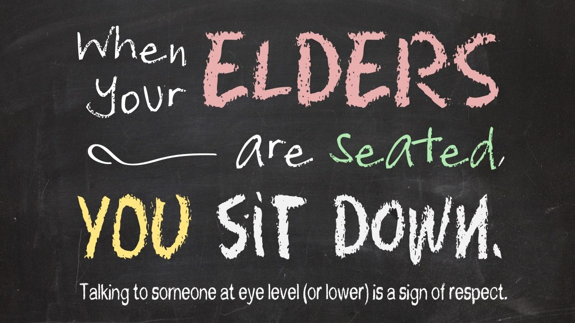 Samoan Etiquette – You sit down, too!