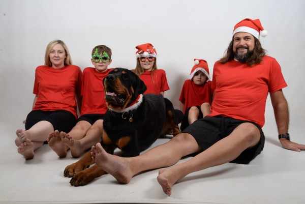 Family Xmas Red and Green Jammies dog