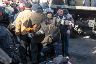 Confrontation on the Instytutska street. 18.02.2014.