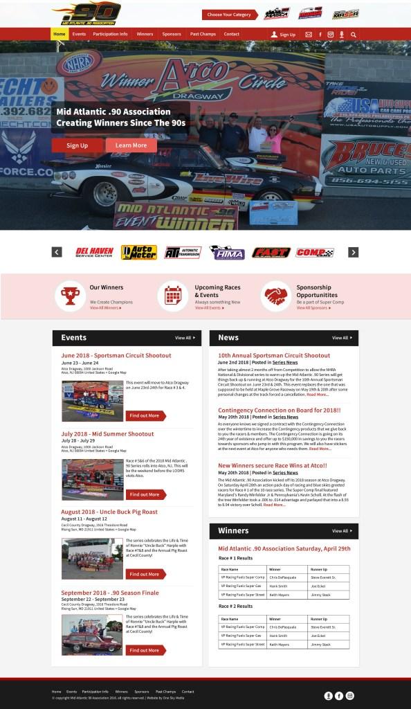 Drag racing website design for Mid Atlantic .90 Association - alternate mockup showing sponsors at top
