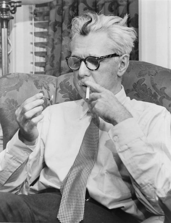 "James Grover Thurber—American humorist and writer, raconteur, cartoonist, staff member of The ""New Yorker,"" 1894-1961. Credit: Fred Palumbo, World Telegram staff photographer - Library of Congress. New York World-Telegram & Sun Collection."