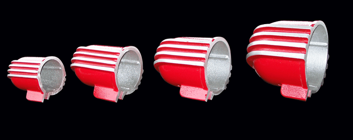 Side view of guage cups painted red