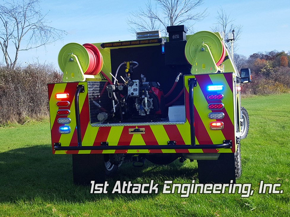 1st Attack co-poly off road fire truck rear view Greenup fire department