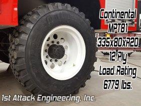 Continental MPT81 335x80 tire 6779 lb load rating 1st Attack super single rim