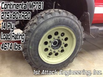 Continental MPT81 275x80 tire mounted on 1st Attack Super Single rims