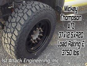 Mickey Thompson ATZ 37x12.5 tire on a 1st Attack Super Single rim