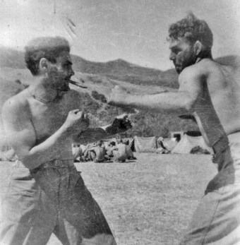 Amedeo Izzo and Jeff Jowers have a boxing match during First Platoon's lecture.