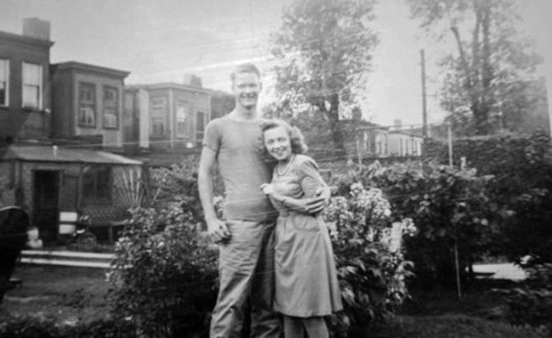 """Charles """"Cease"""" Stafford after recovering from an unusual surgical procedure that saved his arm after being shot on Saipan. He is posing here with his gunner's girlfriend, Doris - who would become Mrs. George Smith after the war."""