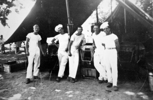JJ Franey, Thomas McCay, Donald Hart, Bob Williams, Bill Imm. Camp Pendleton, 1943. Where the chef hats came from was a mystery.