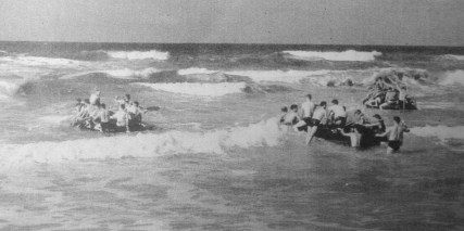 """Able Company on rubber boat exercises, November 1943. """"Thank God we never had to use those boats,"""" said George Smith. """"We would have been massacred."""""""