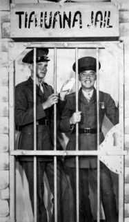 Howie Haff and George on liberty in Tijuana. This picture was printed on a souvenir postcard which, for obvious reasons, was not sent home to family or girlfriends.