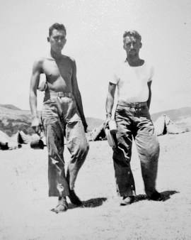 Two of the company's senior enlisted men - Platoon Sergeant Parker McBride and Gunnery Sergeant Walter Russell. Camp Pendleton, 1943.