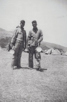 """""""Hurley on left. Squad leader, machine guns–great friend of Fred Reed's (Swarthmore). A steam fitter for DuPont, with two children. Jowers - a big, tough woodsman from the Okefenokee swamps in Florida."""""""