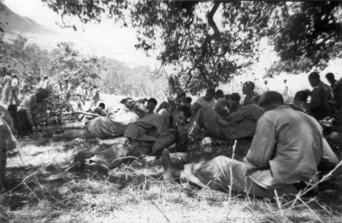 Able Company takes a break for noon chow. Camp Pendleton, 1943.