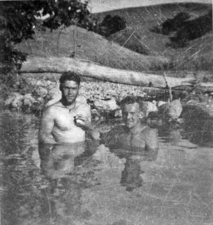 Amedeo Izzo and Leo Ksiekievicz take a dip in a pool made by damming up part of the San Onohe Creek, Camp Pendleton.