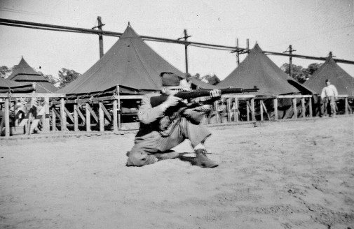"""""""Snapping in"""" at the Parris Island rifle range."""