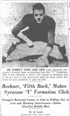 The first description of Beehner's unorthodox play appeared in The Binghamton Press on October 30, 1941.
