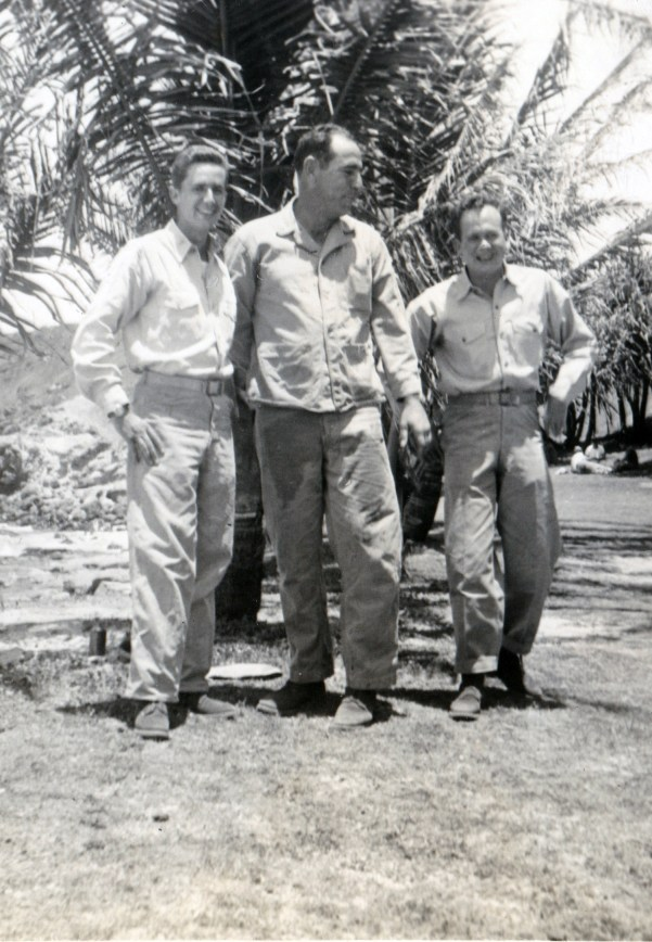 """""""Lt. Lewis, myself, Lt. Whitescarver. Company Party May 10 1945"""""""